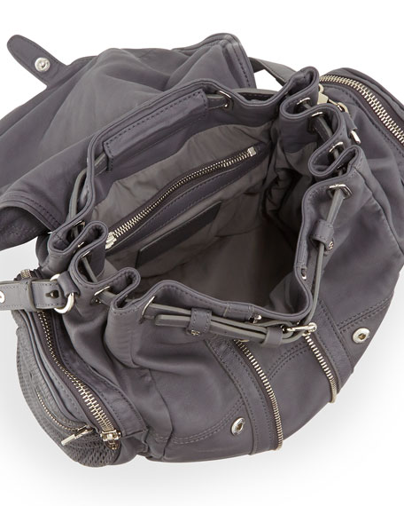 Marti Convertible Mesh Leather Backpack, Exhaust