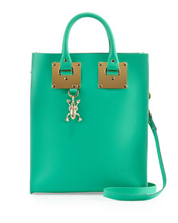 Sophie Hulme Mini Buckled Leather Tote Bag with Frog, Fluoro Green