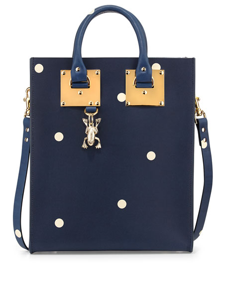 Spotted Mini Tote Bag, Navy/Cream