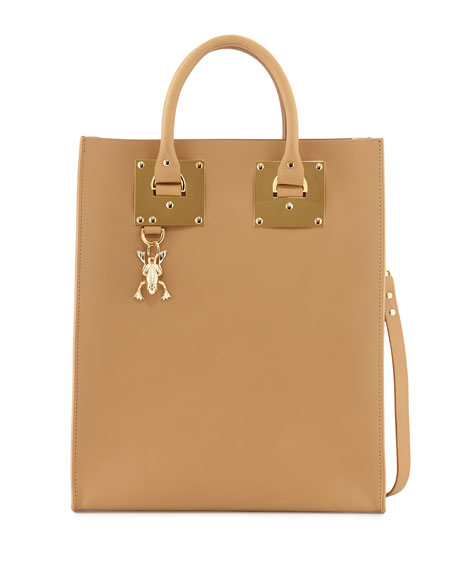 Buckled Leather Tote Bag, Camel