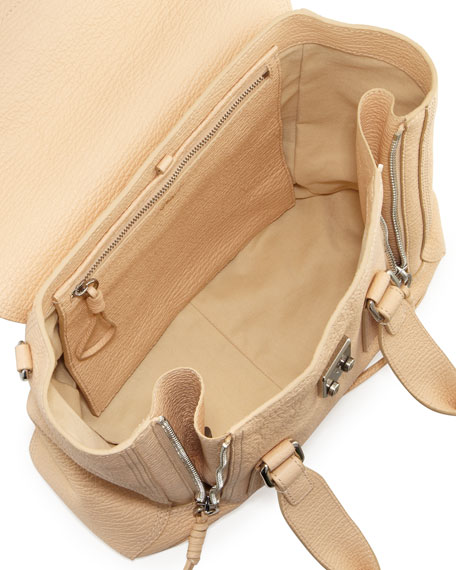 Pashli Medium Zip Satchel Bag, Buff