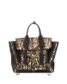 3.1 Phillip Lim Pashli Medium Abstract-Print Zip Satchel Bag, Gray/Lime/Black
