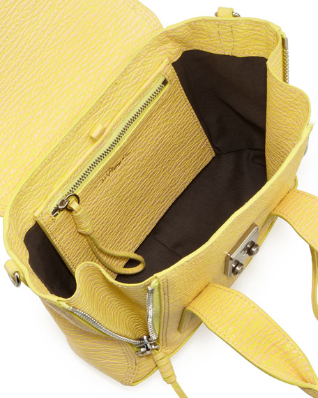 Pashli Mini Leather Satchel Bag, Pollen/Buff
