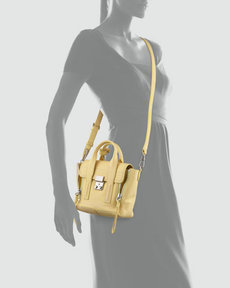 Pashli Mini Leather Satchel Bag, Pollen/Buff