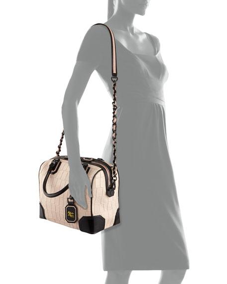 Olivia Croc-Embossed Bag, Peach
