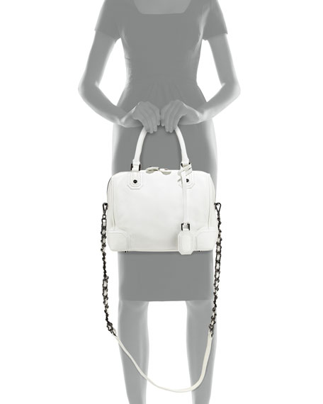 Olivia Pebbled/Patent Satchel Bag, White