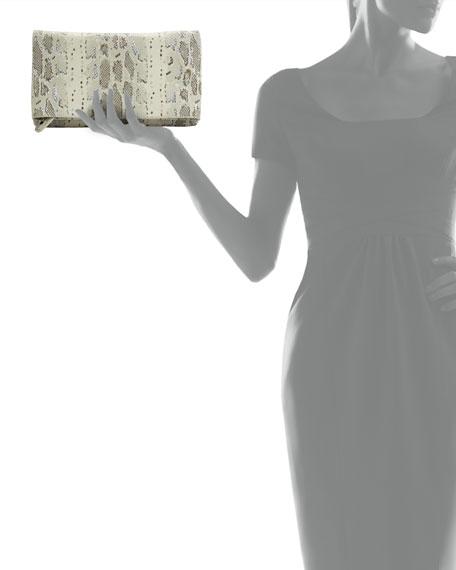 Me Hologram Snake-Print Clutch Bag, Natural