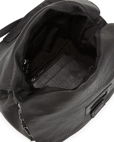 Scarlet Crossbody Leather Satchel Bag, Black