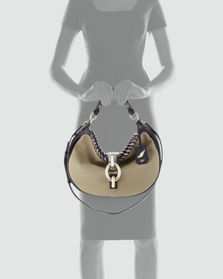 Sutra Canvas Hobo Bag, Olive/Snake