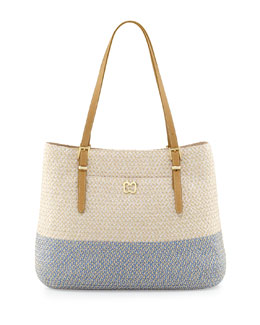 Eric Javits Squishee Jav II Tote Bag, Cream/Blue Tweed