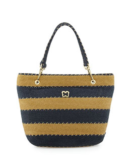 Eric Javits Squishee Striped Clip II Tote Bag, Navy Mix