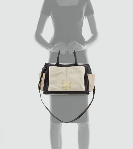 See by Chloe Nellie Colorblock Satchel Bag, Black/Pink/Pearl