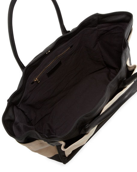 Nellie Large Colorblock Tote Bag, Black/Pebble/Pear