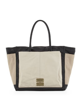 See by Chloe Nellie Large Colorblock Tote Bag, Black/Pebble/Pear