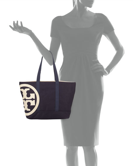 Tory Burch Square Canvas Beach Tote Bag, Navy/Natural