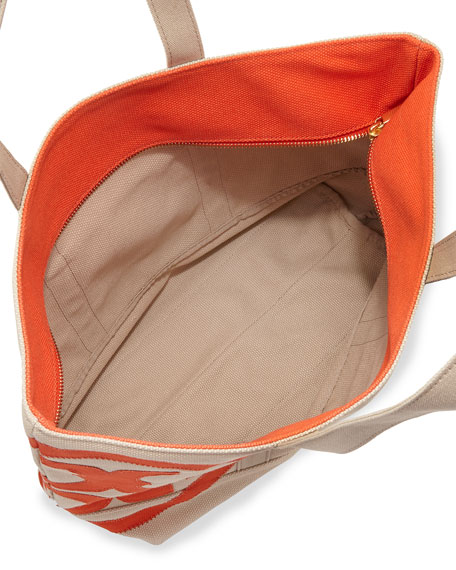 Square Canvas Beach Tote Bag, Natural/Blood Orange