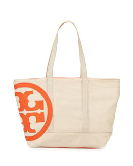 Tory Burch Square Canvas Beach Tote Bag, Natural/Blood Orange