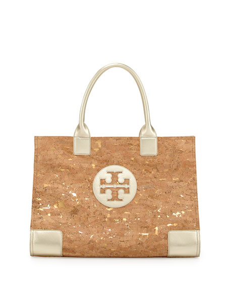 Tory Burch Ella Cork Metallic-Leather Trim Tote Bag