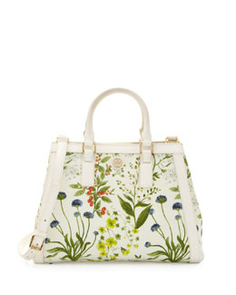 Tory Burch Robinson Floral-Print Triangle Tote Bag