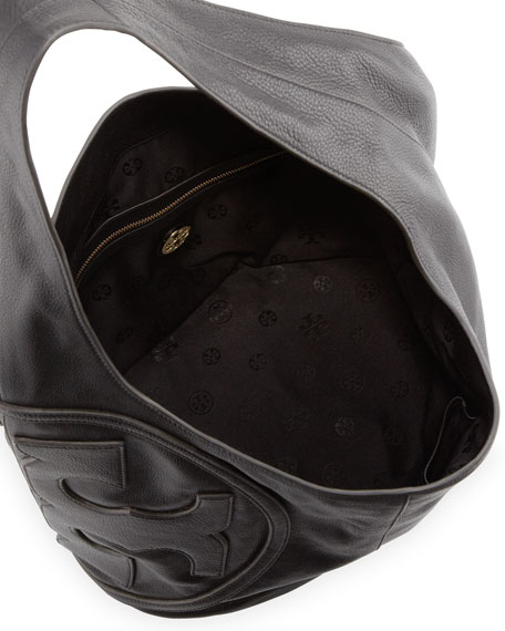 All T Pebbled Leather Hobo Bag, Black
