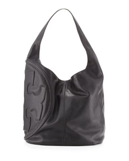 Tory Burch All T Pebbled Leather Hobo Bag, Black