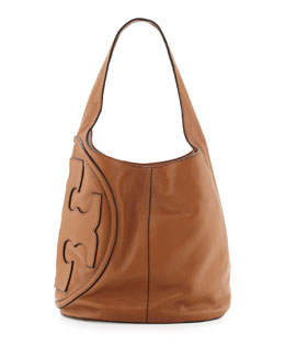 Tory Burch All T Pebbled Leather Hobo Bag, Bark
