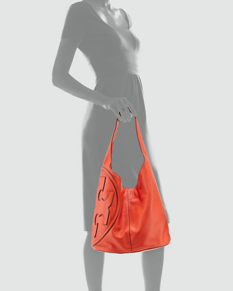 All T Pebbled Leather Hobo Bag, Poppy Red