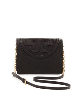 Tory Burch All T Pebbled Crossbody Bag, Black
