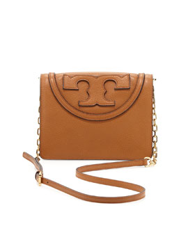 Tory Burch All T Pebbled Crossbody Bag, Bark