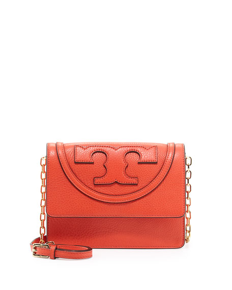 All T Pebbled Crossbody Bag, Poppy Red