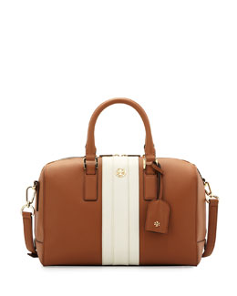 Tory Burch Robinson Striped Middy Satchel Bag, Bark Stripe