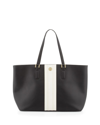 Tory Burch Robinson Striped East-West Tote Bag, Black