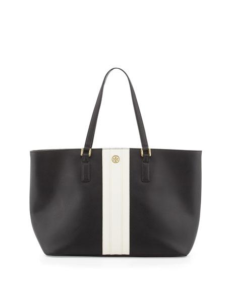 Robinson Striped East-West Tote Bag, Black
