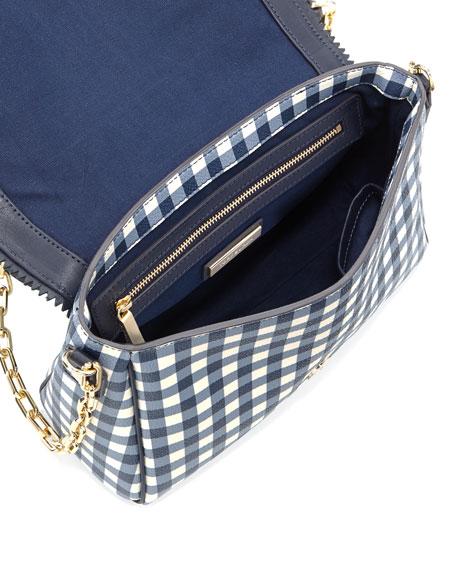 Gingham PVC Crossbody Bag, Navy