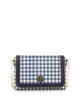 Tory Burch Gingham PVC Crossbody Bag, Navy