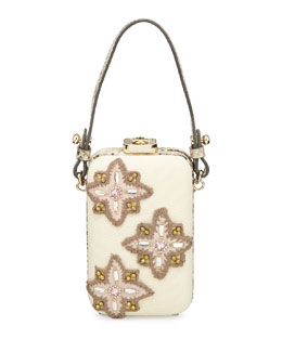 Tory Burch Embellished Canvas Minaudiere, Natural