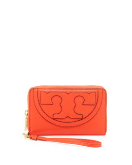 Tory Burch All T Zip Phone Wristlet Wallet, Poppy