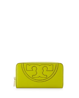 Tory Burch All-T Continental Zip Wallet, Gingko Leaf