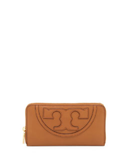 Tory Burch All T Zip Continental Wallet, Bark