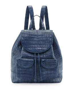 Nancy Gonzalez Crocodile Drawstring Backpack, Blue