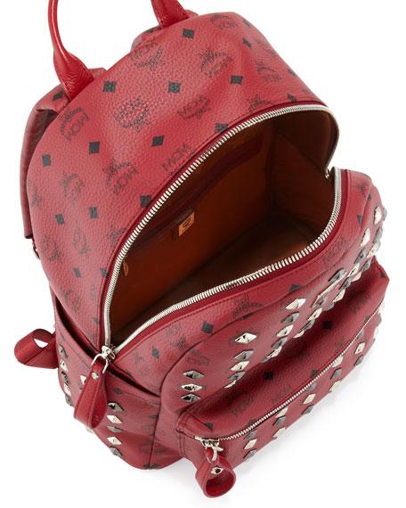 Stark Studded Medium Backpack, Tibetan Red