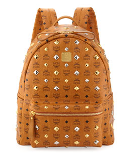 MCM Stark Studded Large Backpack, Cognac