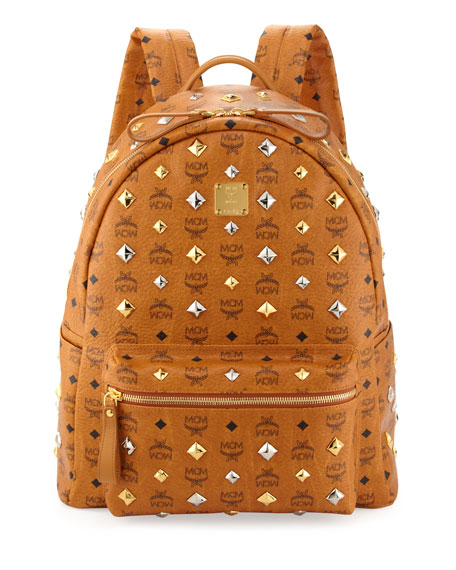 mcm stark studded large backpack  cognac