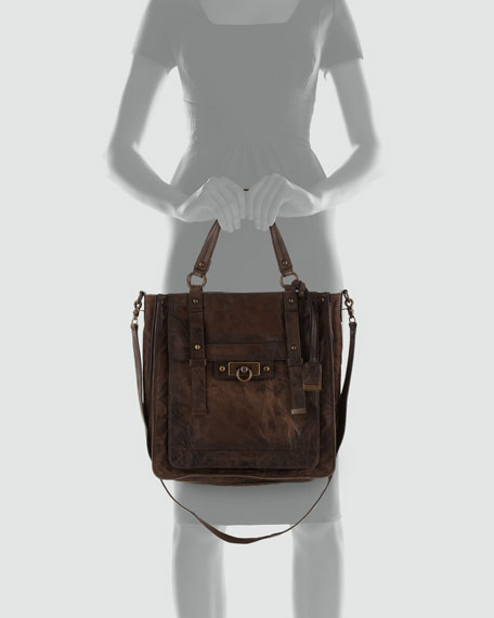 Campus Leather Satchel Bag, Saddle