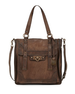Frye Cameron Antiqued Leather Tote Bag, Olive