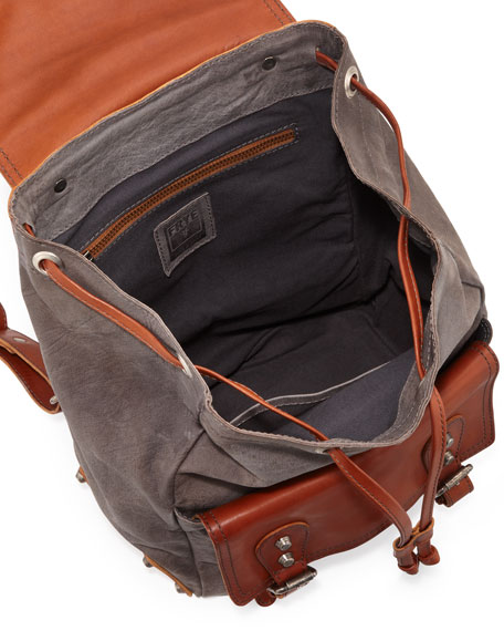 Tracy Washed Leather Backpack, Cognac