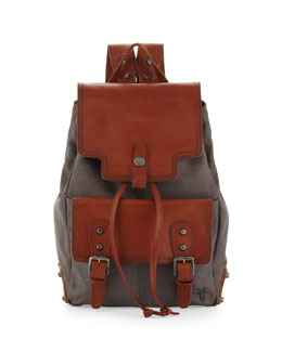 Frye Tracy Washed Leather Backpack, Cognac