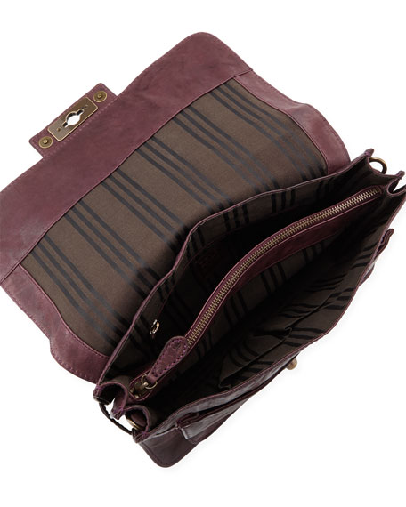 Cameron Leather Satchel Bag, Plum