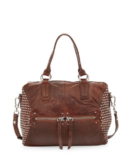 Oryany Dora Studded-Side Satchel Bag, Brown