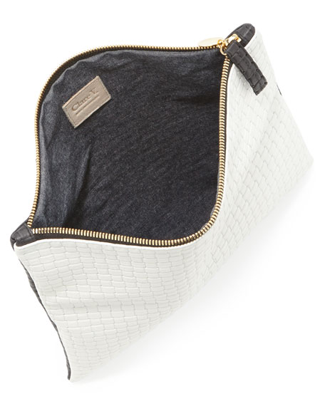 Bicolor Basketweave Fold-Over Clutch Bag, Black/White